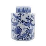 Potiche Ornamental de Porcelana com Tampa - Azul e Branco Grande