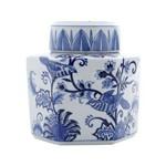 Potiche Ornamental de Porcelana com Tampa - Azul e Branco Pequeno
