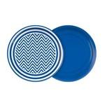 Prato 18cm Festa Colors Azul Royal Chevron 8 Unidades
