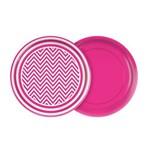 Prato 18cm Festa Colors Pink Chevron 8 Unidades