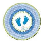 Prato Baby Shower Azul 18cm 08 Unidades