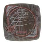 Prato de Plástico Descartável Quadrado Preto Grande com 10 Unidades Prafesta