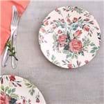Prato de Sobremesa 20cm Cerâmica Ege Havan Rosa Floral Rosa Floral
