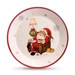 Prato Decoração Natal C/papai Noel 30cm Branco