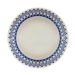 Prato Fundo de Porcelana Decoração Grécia Azul Louça Jantar