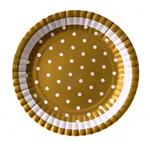Prato Metalizado Dourado Poá Branco - 10 Unidades
