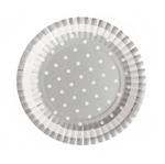 Prato Metalizado Prata Poá Branco - 10 Unidades