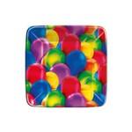 Prato Quadrado Balões 8 Unidades - Regina