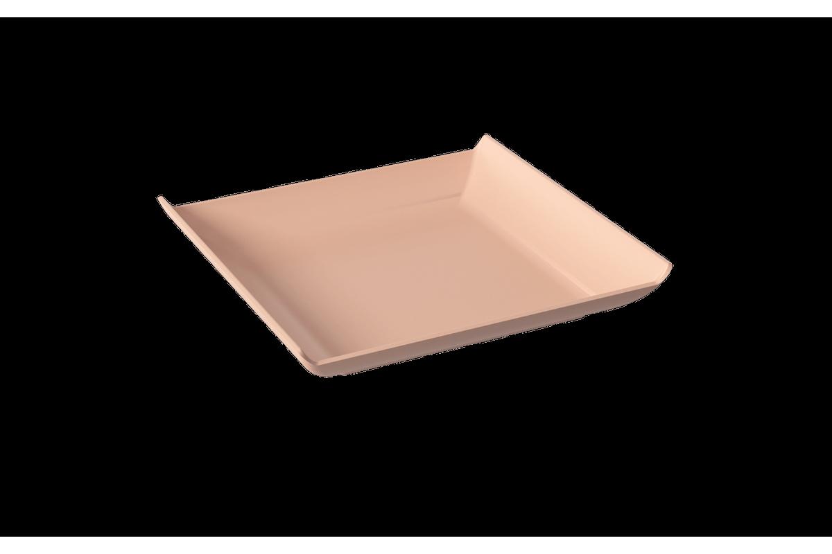 Prato Quadrado Casual Pequeno 16 X 16 X 2,5 Cm Rosa Blush Coza