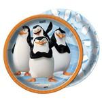 Prato Redondo 18cm os Pinguins de Madagascar C/ 08 Unidades