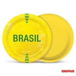 Prato Redondo Vai Brasil - 18cm - 8 Unidades