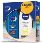 Protetor Solar Nivea Protec & Hidrata Fps30 200ml Grátis Hidratante Nivea Firmador Q10 200ml