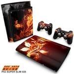 PS3 Super Slim Skin - Fire Flower Adesivo Brilhoso