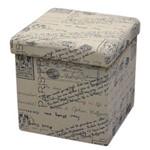 Puff Baú Stamp Quadrado 38x38 Desmontável