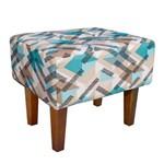 Puff Decorativo Livia Pés Chanfrado Estampado Traçado Azul Tiffany D33 - D'Rossi