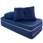 Puff Multiuso 3 em 1 Casal Azul Tecido Corvin com Travesseiro