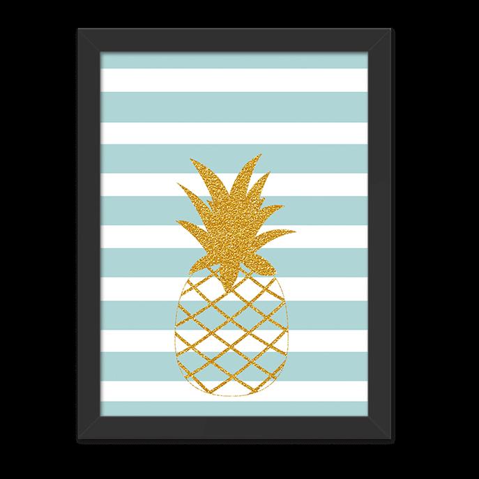 Quadro Abacaxi Dourado Listras Tiffany Moldura Preta Lisa - 30x20 Cm-sv