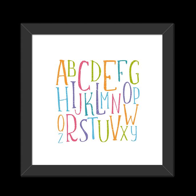 Quadro Alfabeto Colorido Moldura Preta Lisa - 20X20cm-sv
