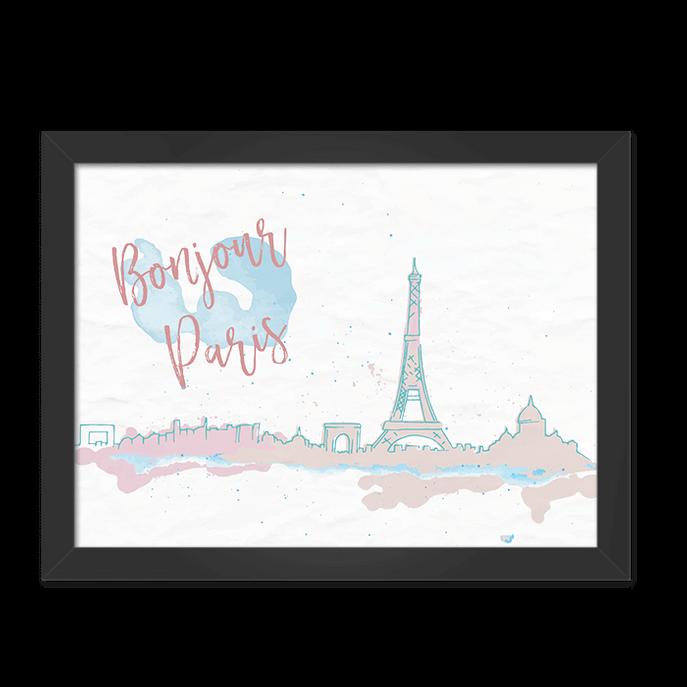 Quadro Bonjour Paris Moldura Preta Lisa 30x20cm-sv