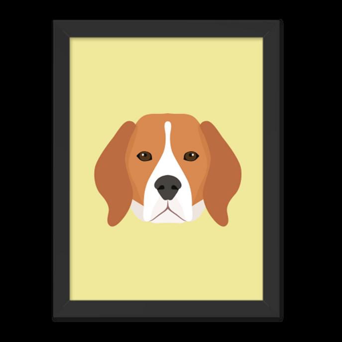 Quadro Cachorro Beagle Moldura Preta Lisa 30x20cm-sv