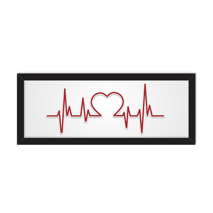 Quadro Cardiologista Moldura Preta Lisa - 15X40cm-sv
