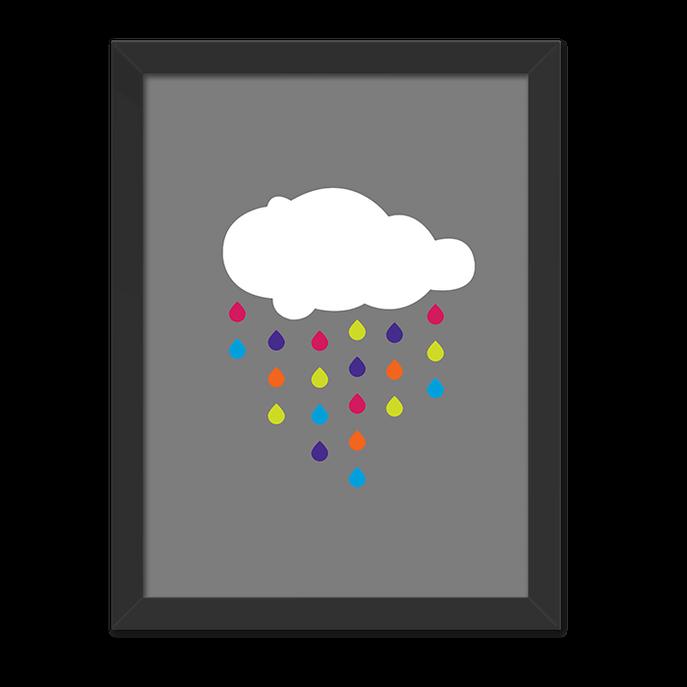 Quadro Chuva de Cor Moldura Preta Lisa - 30x20 Cm-sv