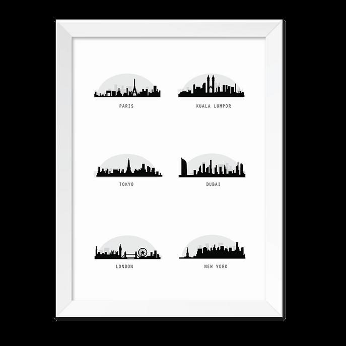 Quadro Cidades Perfis Moldura Branca Lisa 30x20cm-sv