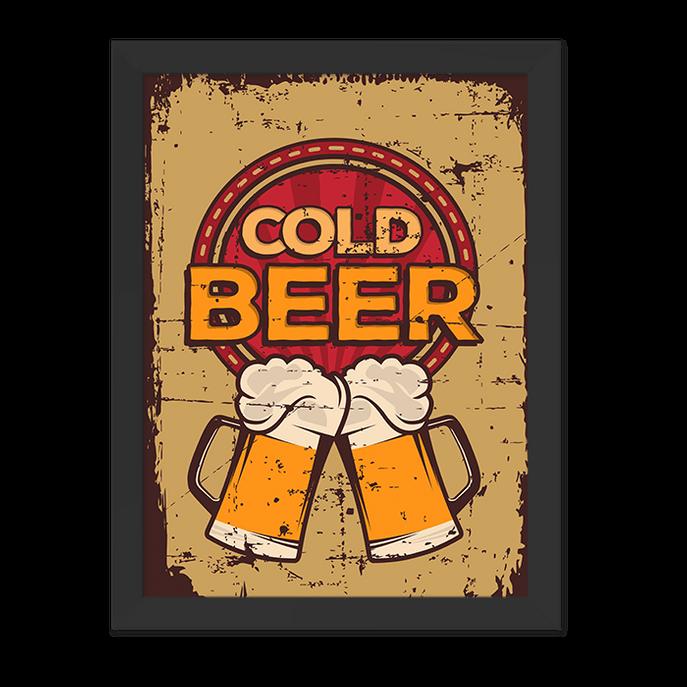 Quadro Cold Beer Moldura Preta Lisa 30x20cm-sv