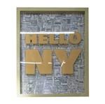 Quadro com Moldura Hello NY Laranja Urban