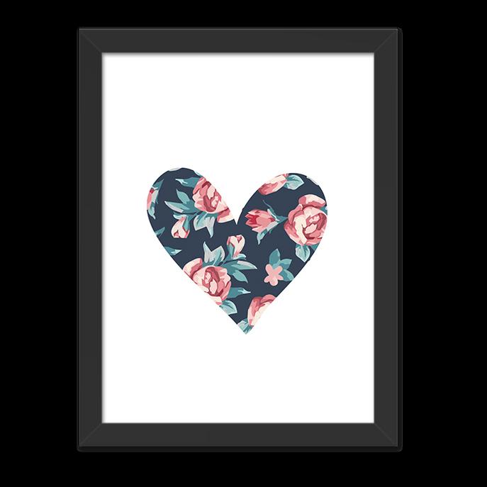 Quadro Coração Florido Moldura Preta Lisa 30x20cm-sv