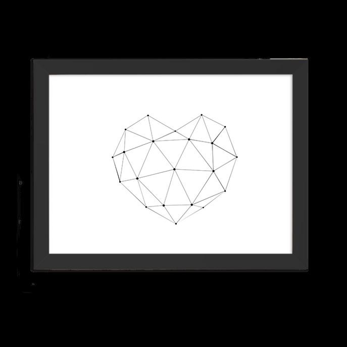 Quadro Coração Geometrico Horizontal Moldura Preta Lisa - 30x20 Cm-sv