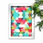 Quadro Decorativo Abstrato Triangulos Moldura Branca Sua Casa Personalizada A3