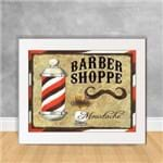 Quadro Decorativo Barber Shoppe Moustache BB 09 Branca 30x40