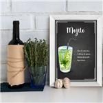 Quadro Decorativo Bebida Mojito 22x32 com Moldura Branca