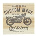 Quadro Decorativo Bege Motocicleta Old School 25x25cm Urban