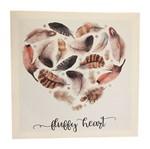 Quadro Decorativo Branco Heart Feathers Urban