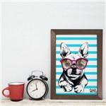 Quadro Decorativo com Moldura Marrom Cachorro Bulldog 22x32cm