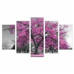 Quadro Decorativo Cor de Rosa 5 Peças