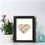 Quadro Decorativo Coração Flores Moldura Preta 33x43cm