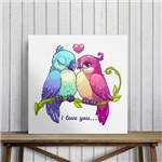 "Quadro Decorativo em Canvas Pássaros ""I Love You"""