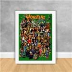 Quadro Decorativo Famous Monsters Films Diversos 11 Branca