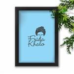 Quadro Decorativo Frida Kahlo Fundo Azul Claro Moldura Preta A3