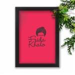 Quadro Decorativo Frida Kahlo Fundo Pink Moldura Preta A3