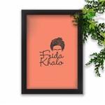 Quadro Decorativo Frida Kahlo Fundo Rosa Tropical Moldura Preta A4