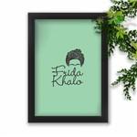 Quadro Decorativo Frida Kahlo Fundo Verde Agua Moldura Preta A3