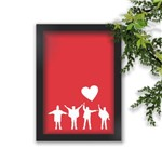 Quadro Decorativo The Beatles Pose Fundo Vermelho Coração Branco