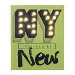 Quadro Decorativo Verde com Led NY News Urban