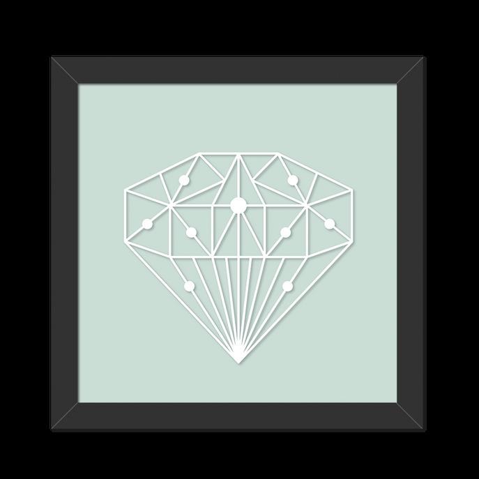 Quadro Diamante Branco Interligado Moldura Preta Lisa - 20x20 Cm-sv