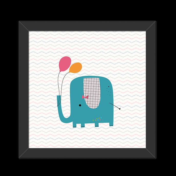 Quadro Elefante Moldura Preta Lisa - 20X20cm-sv