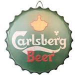 Quadro em Alumínio Carlsberg Beer Tampa Enfeite Grande 40 Cm